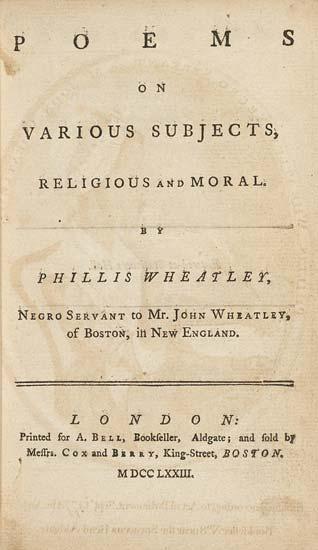 Phillis Wheatley title page