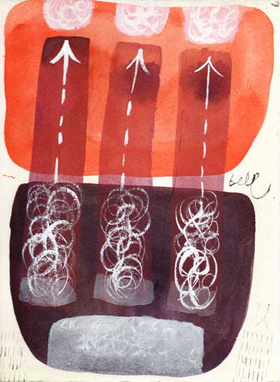 Three Smokestacks Plans For Atomic Power - Jesse M. Bell watercolor