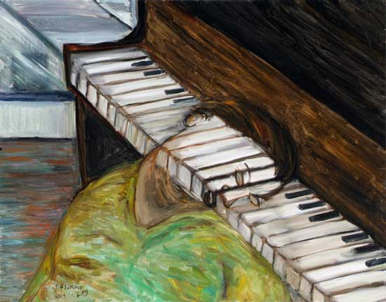 The dreamy pianistThe late Israeli Author, Yosef-haim Brener -- Ishay Rossano painting
