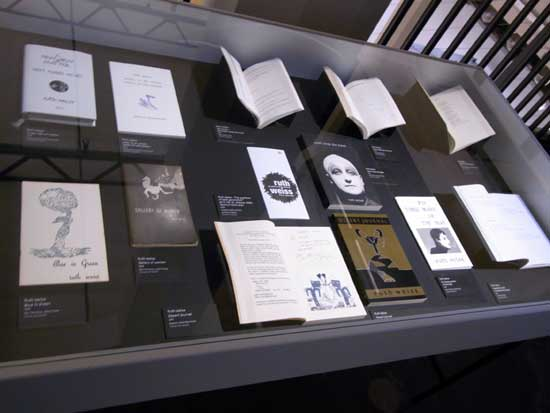 A selection from Horst Spandler's ruth weiss book collection, presented at ZKM's Beat Generation exhibition in Karlsruhe  in 2016-17.