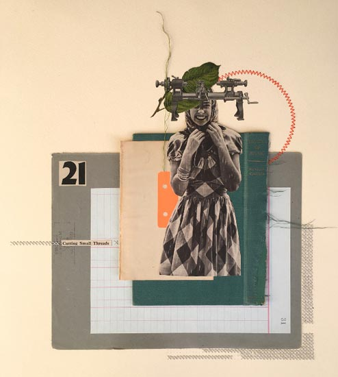 Cutting Small Threads - Rhed Fawell collage