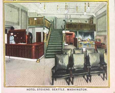The lobby of the Hotel Stevens
