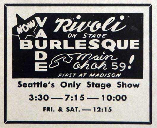 An advertisement for burlesque at the Rivoli.