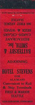 A matchbook for the Hotel Stevens