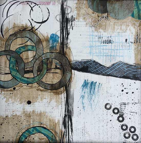curious bonds - Kelly Schaub mixed media collage