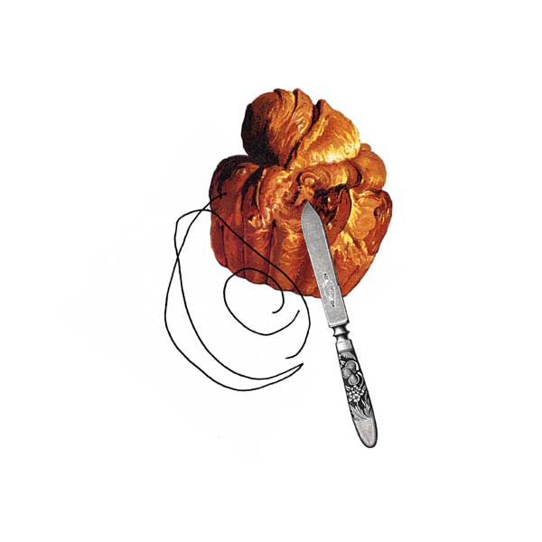 avocado toast - collage drawing by Lori Langille