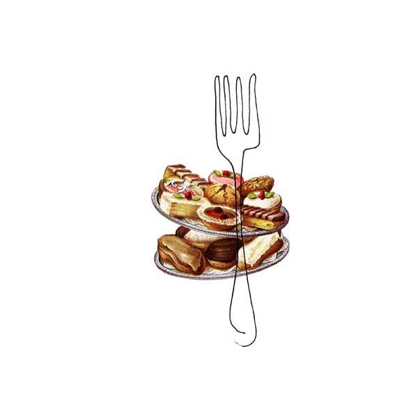 fork - collage drawing by Lori Langille