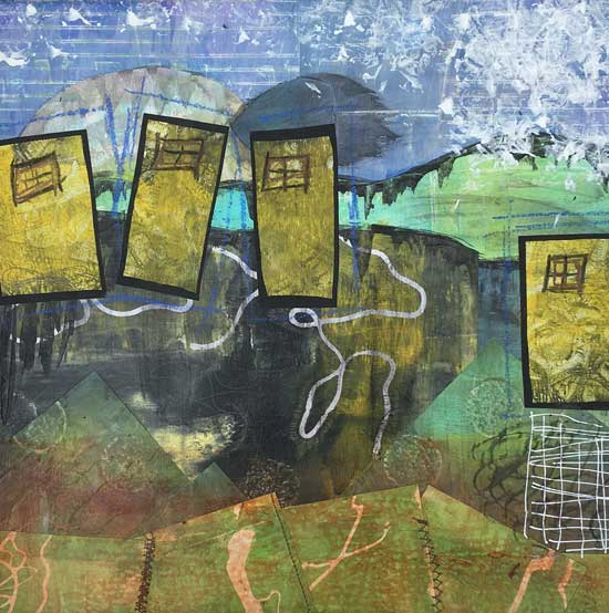 yellow doors - Kelly Schaub mixed media collage