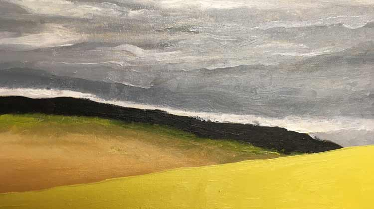 2 Yellow Hills (detail)- painting by Judith Skillman