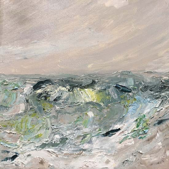 Lime Sea, after Joan Eardley - painting by Judith Skillman