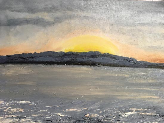 Sunset over Olympics - painting by Judith Skillman