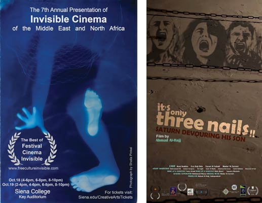 poster for 7th Festival Cinema Invisible, 2019, Siena College / poster for the film It's Only Three Nails, 7th Festival Cinema Invisible, 2019, Siena College