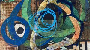 circular reference (detail) - mixed media collage by Kelly Schaub