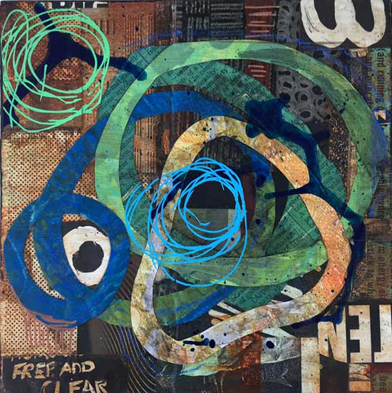 circular reference - mixed media collage by Kelly Schaub