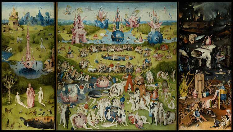 Hieronymus Bosch, The Garden of Earthly Delights, oil on oak panels, 205.5 cm × 384.9 cm (81 in × 152 in), Museo del Prado, Madrid