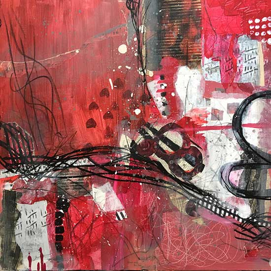 history of flamenco - mixed media collage by Kelly Schaub