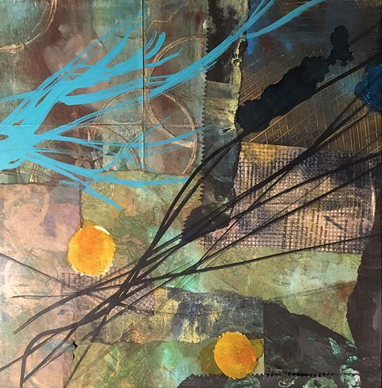 rebuilding - mixed media collage by Kelly Schaub