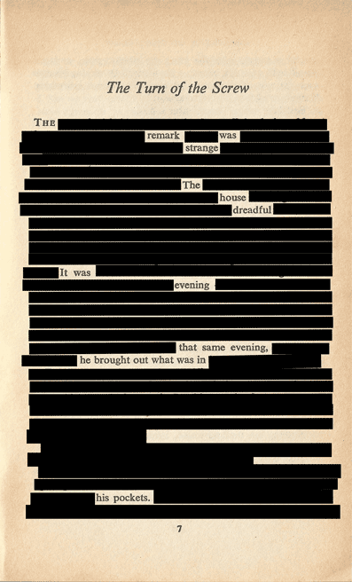 On Henry James erasure poem by Andre Bagoo