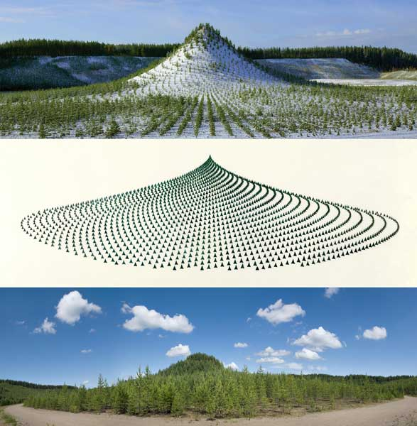 Agnes Denes Tree Mountain - A Living Time Capsule - 11,000 Trees, 11,000 People, 400 Years (Triptych) 1992-1996, 1992/2013 Type-C print 36 x 36 inches Copyright Agnes Denes, courtesy Leslie Tonkonow Artworks + Projects, New York